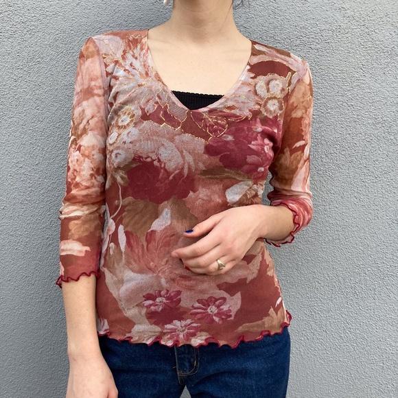 sheer mesh ruffled top floral print burgundy dark red color 90s  long sleeve blouse